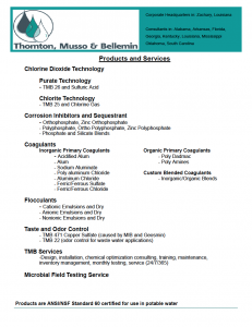 Thornton, Musso, & Bellemin Products & Services (Water Treatment)